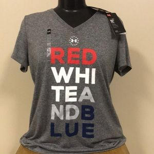 🆕 UNDER ARMOUR Womens Red White Blue Shirt